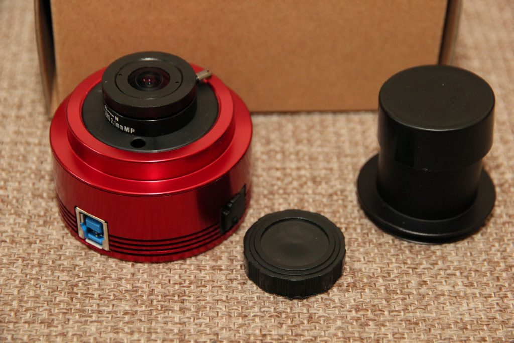 "ASI290MM camera with 2.1mm wide lens and 1.25"" nosepiece"