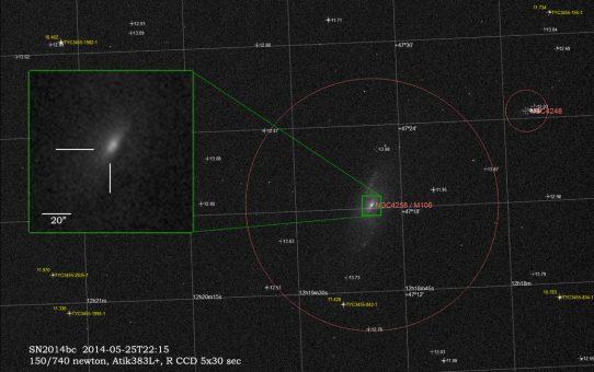 Supernova SN2014bc in M106 galaxy