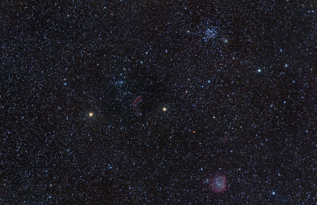 Gemini constellation, nearby Tejat Posterior star (at left). Monkey Head nebula (bottom) and M35 cluster (top)