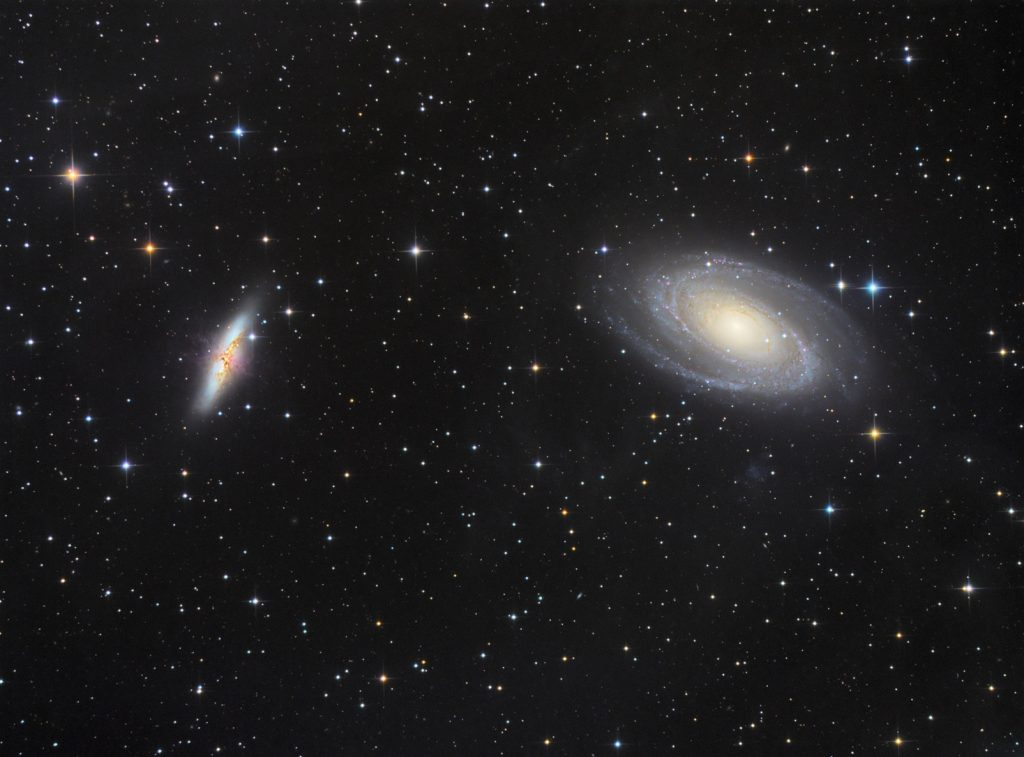 M81 and M82 galaxy pair in Great Bear
