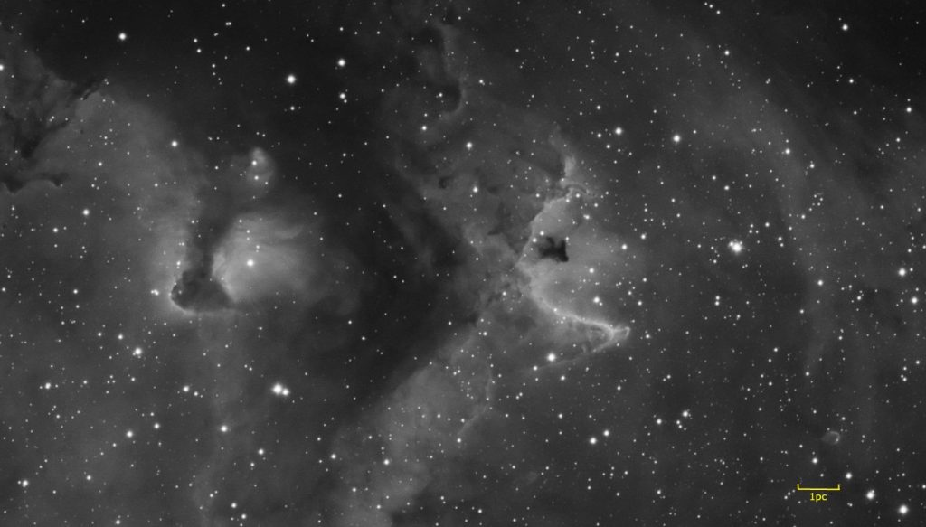 "Detail of IC1848 Soul nebula - notice ""Fish"" globule in lower right"