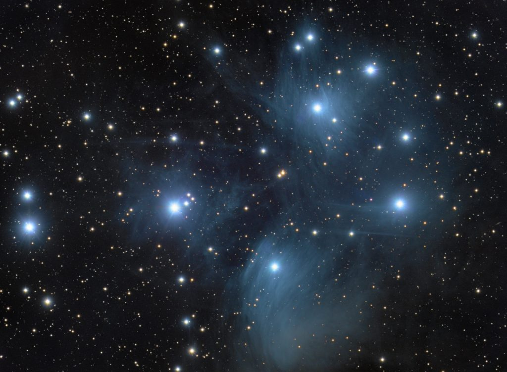 M45 Seven Sisters (aka Pleiades) open cluster. LRGB under light polluted sky