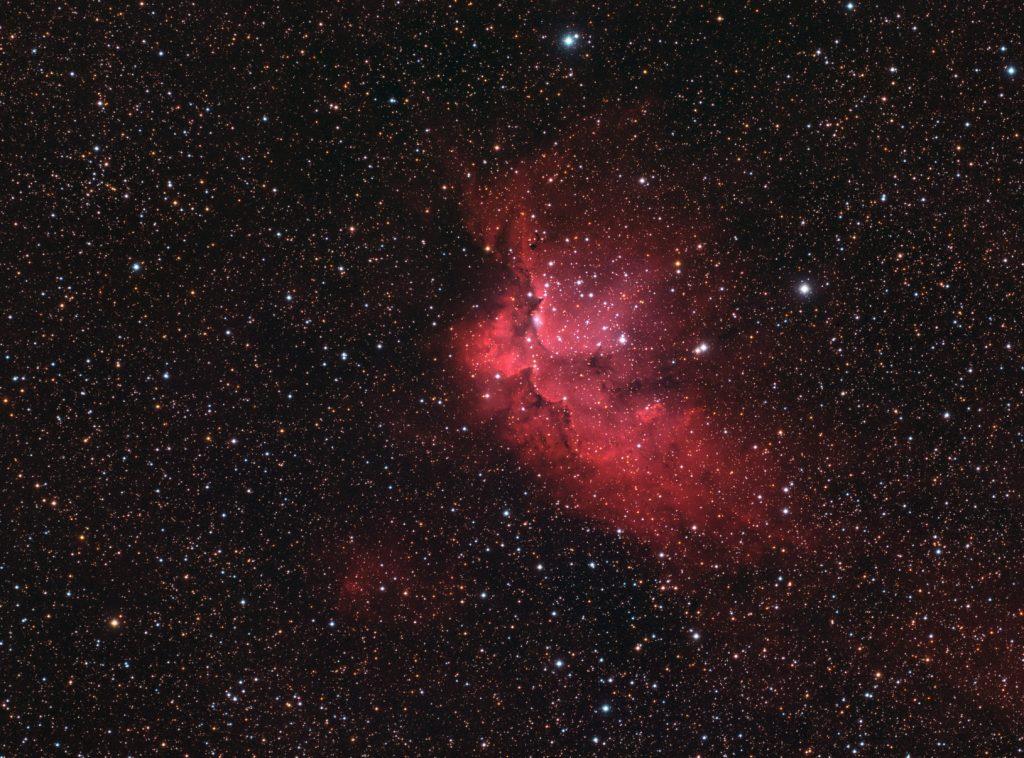 Sh2-142 Wizard nebula - hydrogen alpha plus RGB