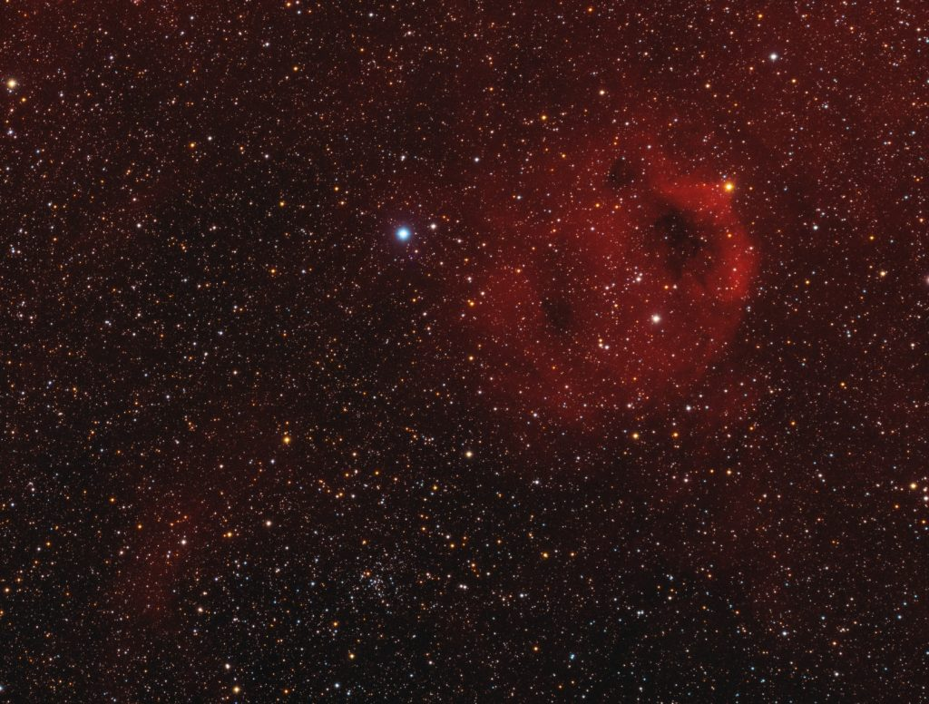 Sh2-173 emission cloud, 32x15 minutes exposure Ha band, 180 minutes RGB