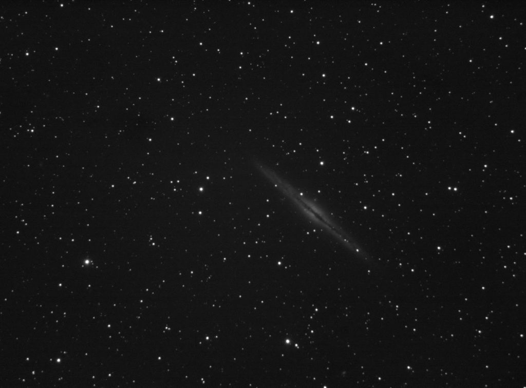 NGC891 galaxy imaged with SCT8 telescope and QHY163M camera on unguided CG5 mount. 80x5 seconds stack.