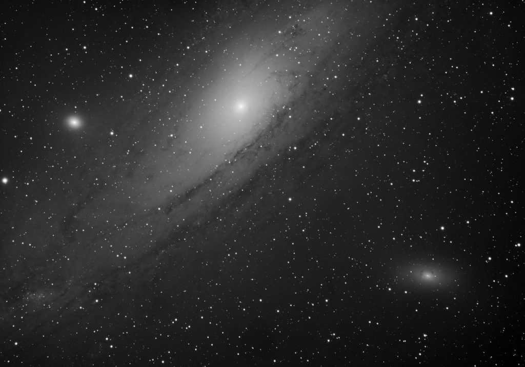 M31, M32, M110 galaxy triplet, 180x10s luminance, unguided on EQ6. GAIN=10