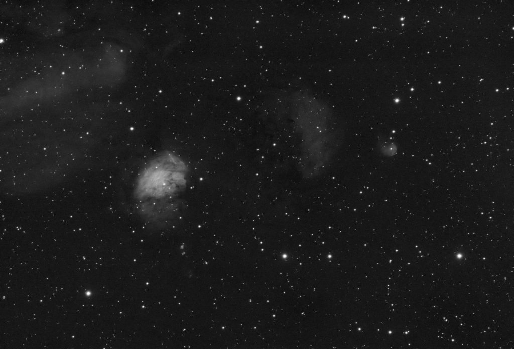 Sh2-235 area, 12x600s stack, Baader Ha, nasty conditions (high clouds + Moon), 75% crop