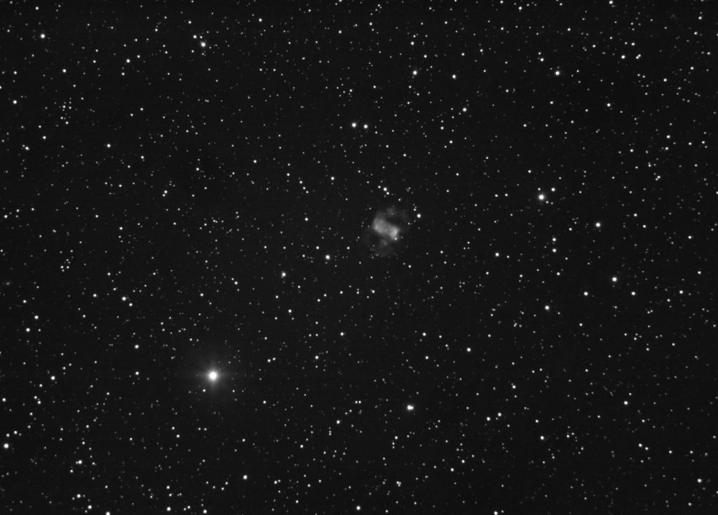 "M76 planetary nebula imaged with QHY163M camera and SCT8"" telescope on unguided CG5 mount. 100x5 seconds stack."