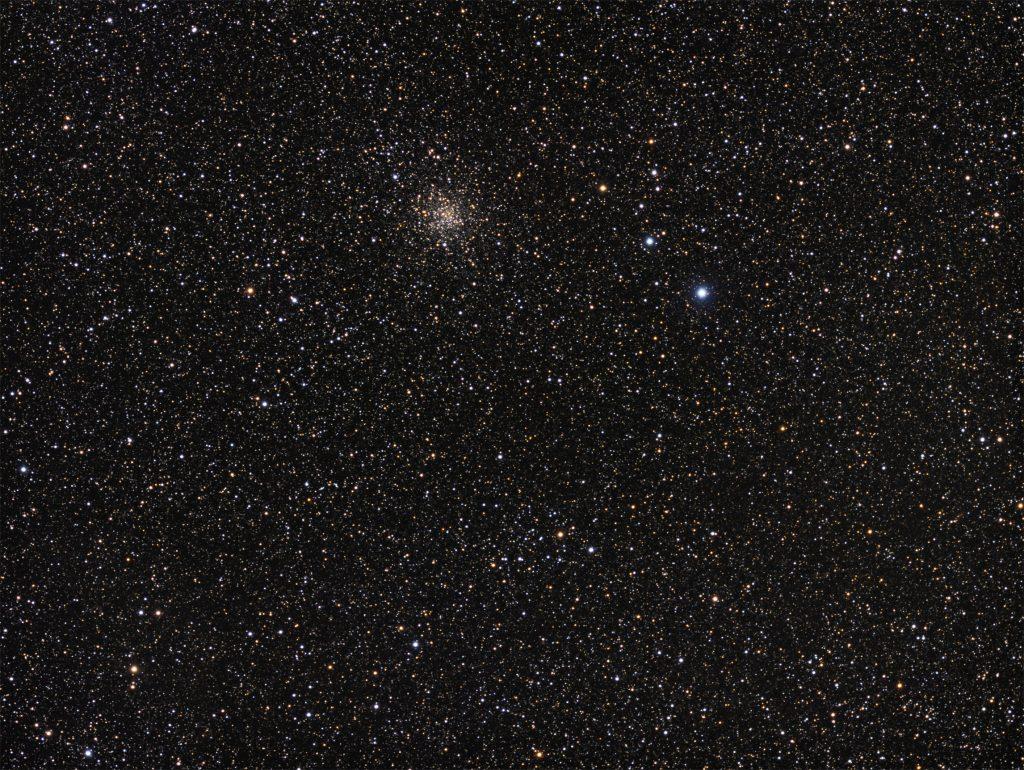M71 globular cluster and Harvard 20 open cluster below