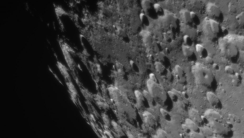 Crater Moretus (large at the left) near to Moon south pole
