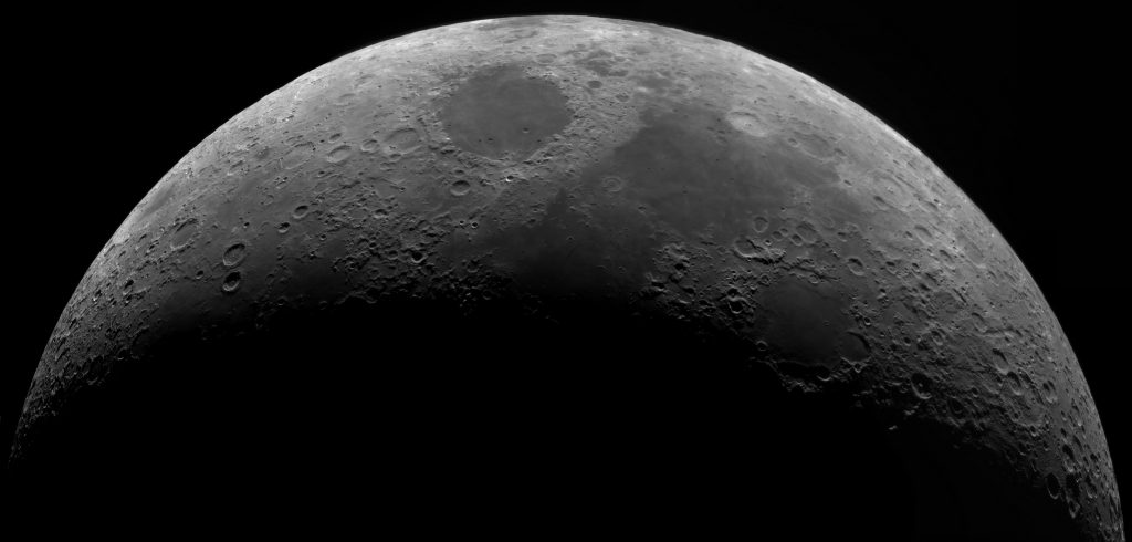Moon mosaic made with QHY163 camera and SCT8""
