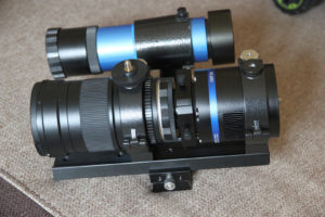 Samyang 135 telephoto lens imaging setup with Skywatcher 8x50 finderscope as guiding scope.