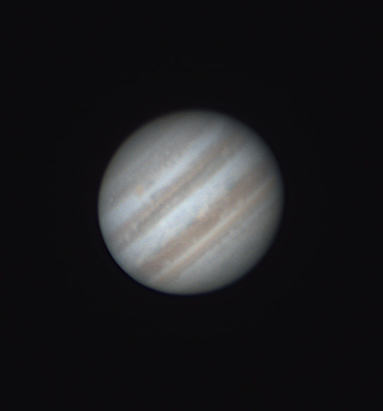 "Jupiter on June, 19th imaged with SCT 11"" on Celestron CGX mount. Planet was pretty low, below 30 degrees."