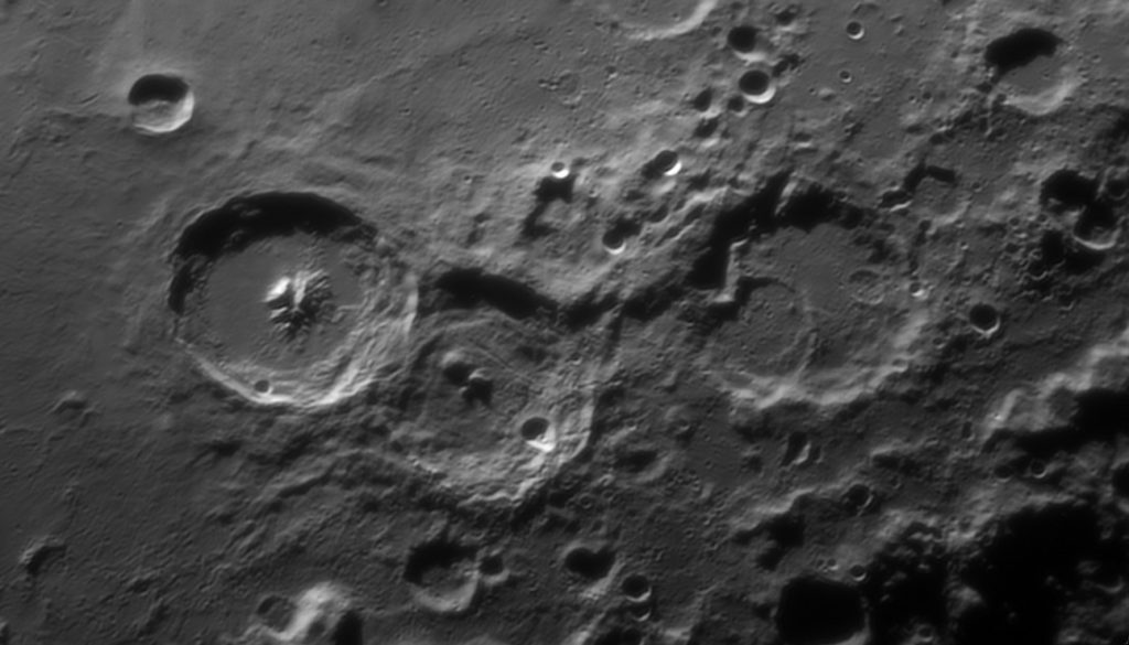 Theophilus Moon crater area