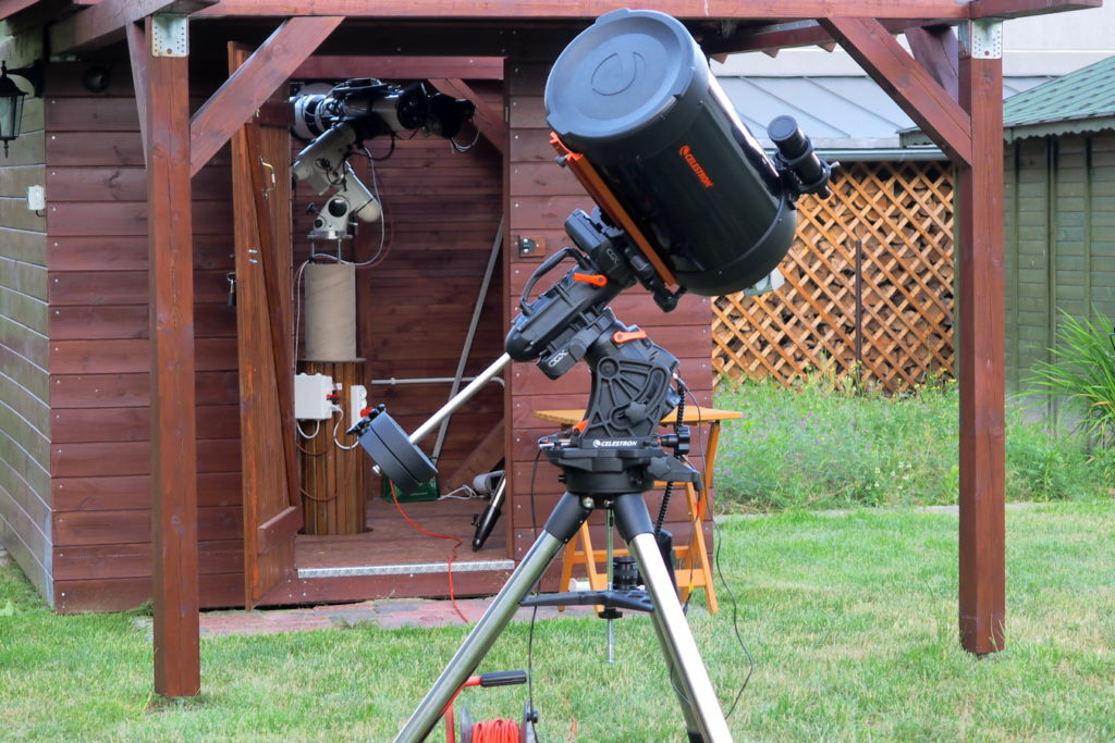 C11 on Celestron CGX - nice tandem. Astroshed with astroimaging setup in the background.