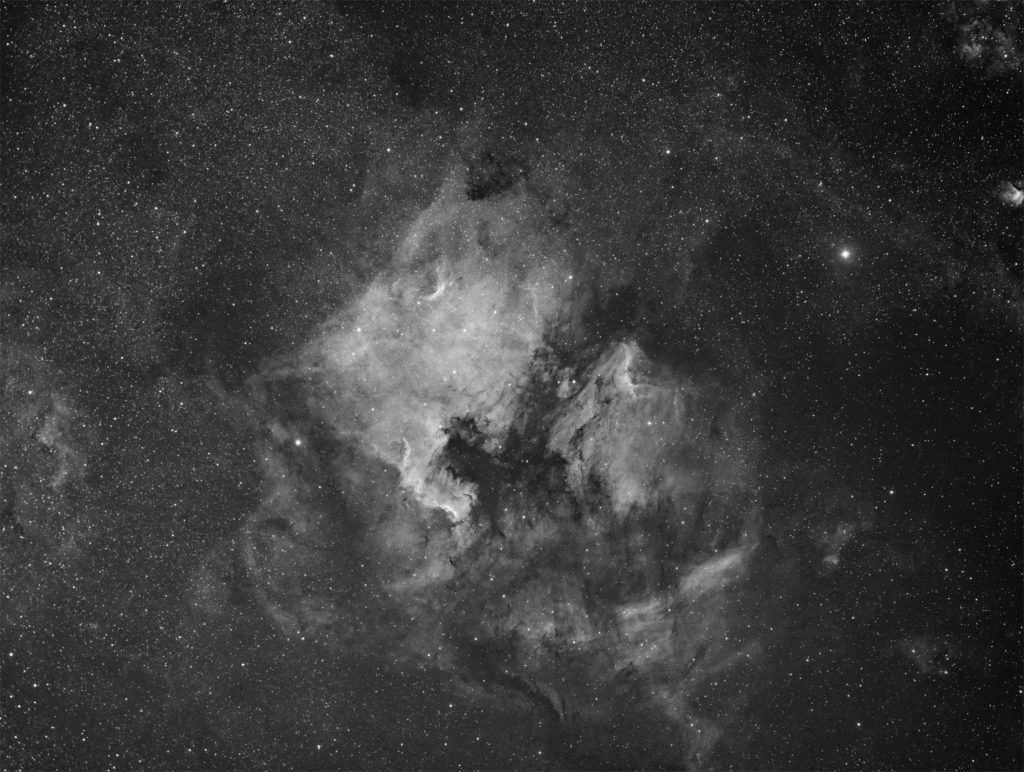 NGC7000 nebula in Cygnus imaged in hydrogen alpha band
