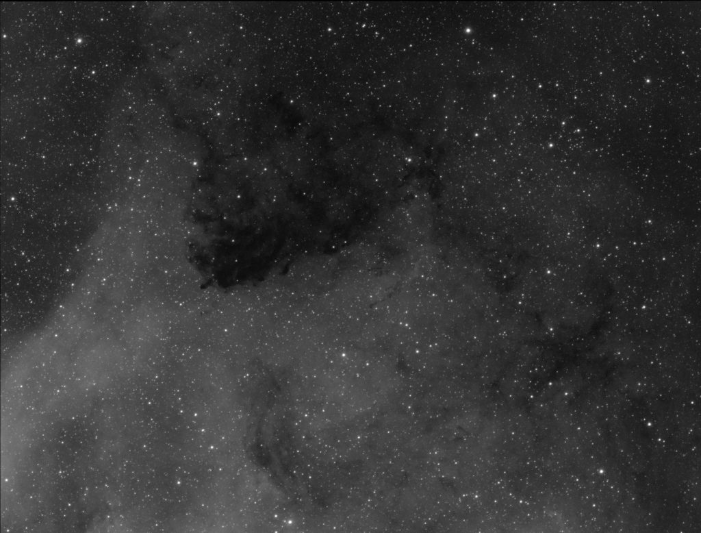 The same region but in hydrogen alpha band. This is only modest 120 minutes of exposures