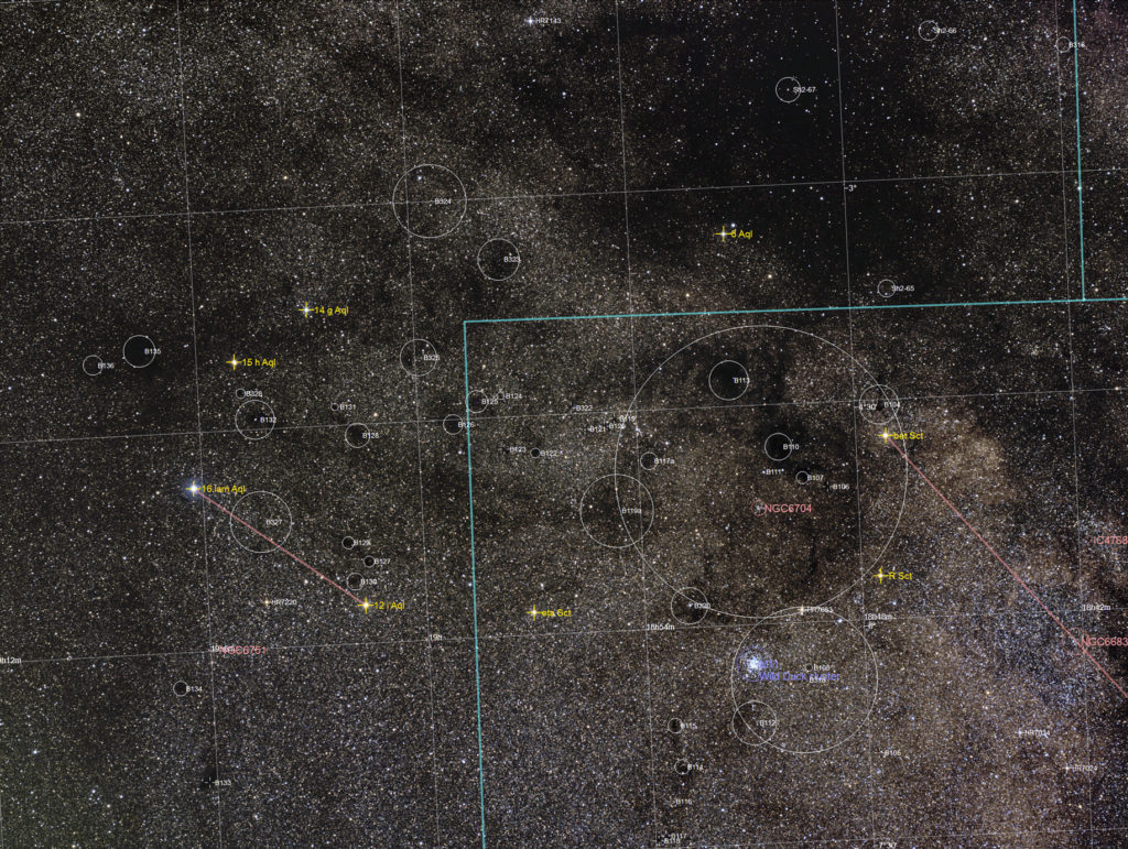 Annotated image of dark clouds around M11
