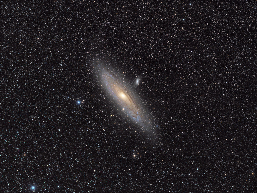 M31 galaxy in Andromeda imaged with LRGB filters.