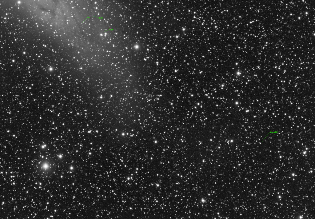 M31 enlarged crop with annotated few globular clusters