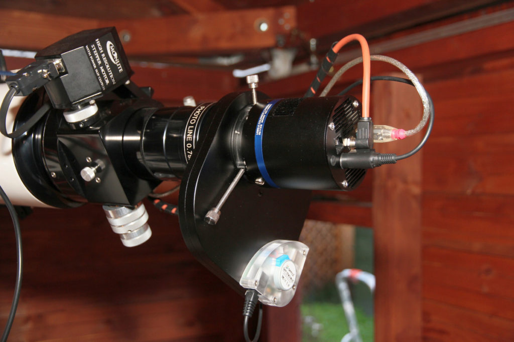 Typical Crayford focuser with attached stepper motor to control focusing remotely