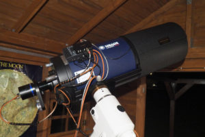 "Meade ACF 10"" telescope with AstroLink device attached"