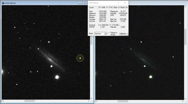 Star intensity and SNR comparison