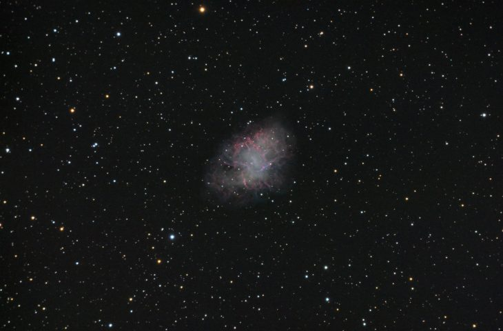 "M1 Crab nebula. RGB stack of 18:12:12 frames, 60s exposure each. Meade ACF 10"", QHY163M"
