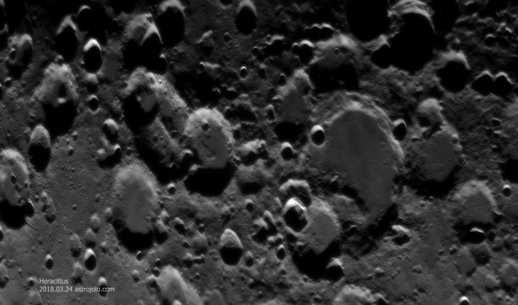 Heraclitus crater (right of center). It is complex crater, heavily worn with features smoothed down by subsequent impacts