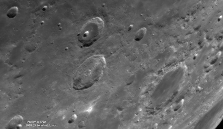 Hercules and Atlas craters. Lower right - Endymion crater