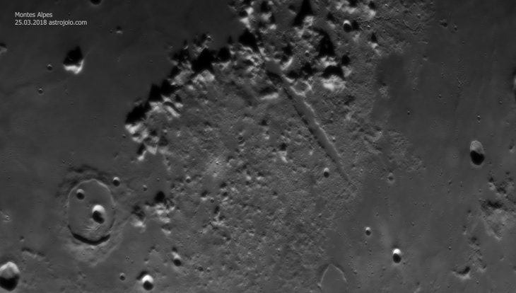 Montes Alpes with Vallis Alpes across. Cassini crater at lower left