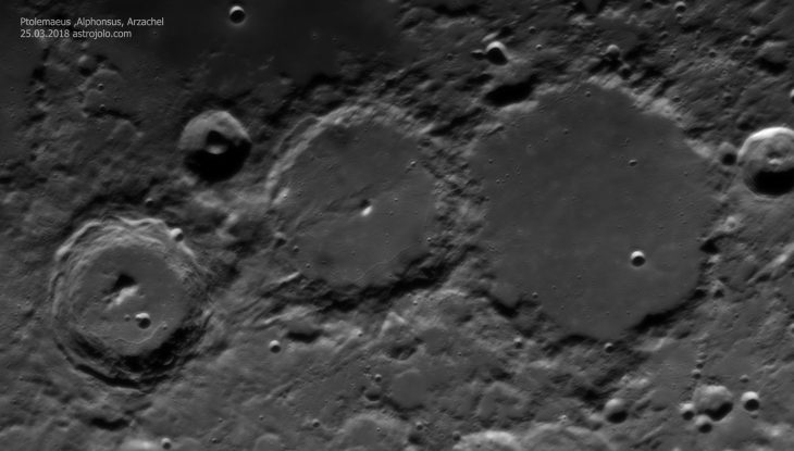 Famous Moon crater trio: Ptolemaeus, Alphonsus and Arzachel