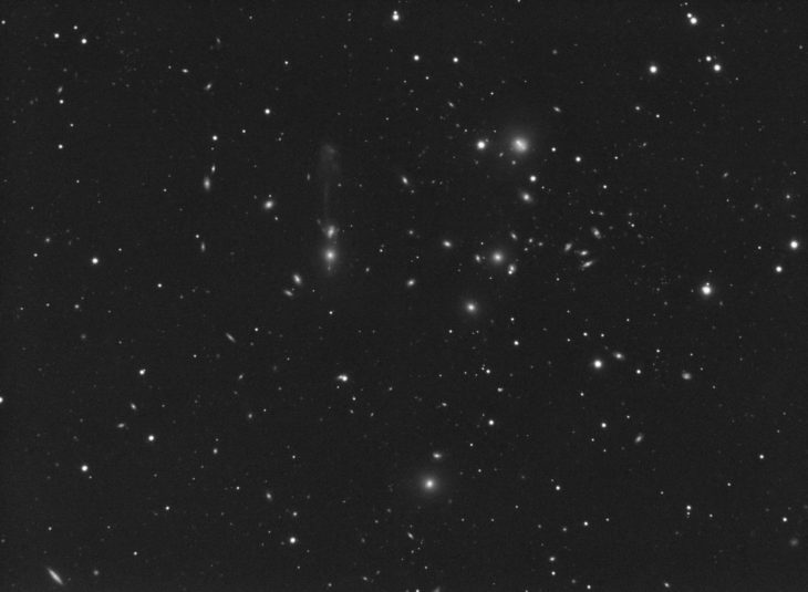 "Abell 1185 galaxy cluster imaged with QHY163M camera and ACF 10"" telescope on guided EQ6 mount. Since ""Guitar"" feature is very faint, 60s subframe exposure at gain=100 was chosen for this image. 120x1 minute stack."
