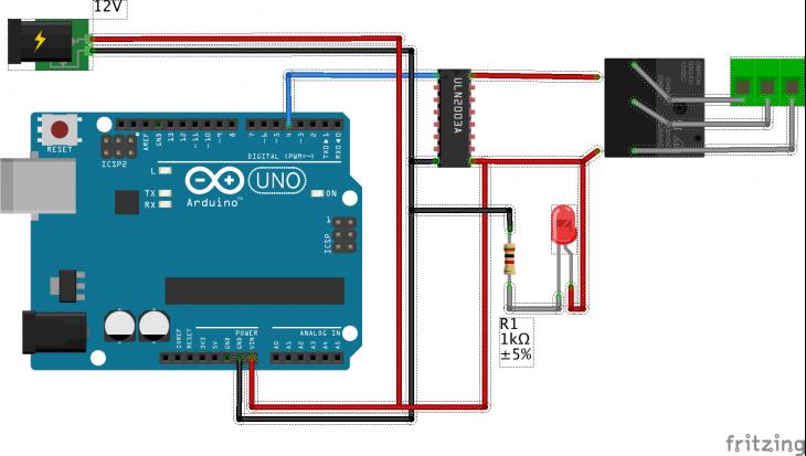 Arduino relay control with ULN2003 Darlington array