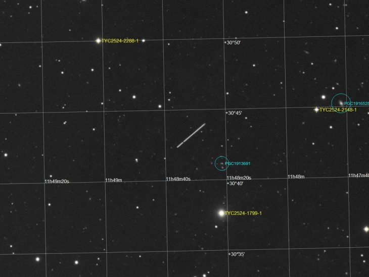 Stacked capture data with asteroid path