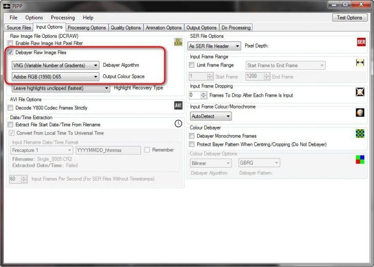 PIPP input options tab