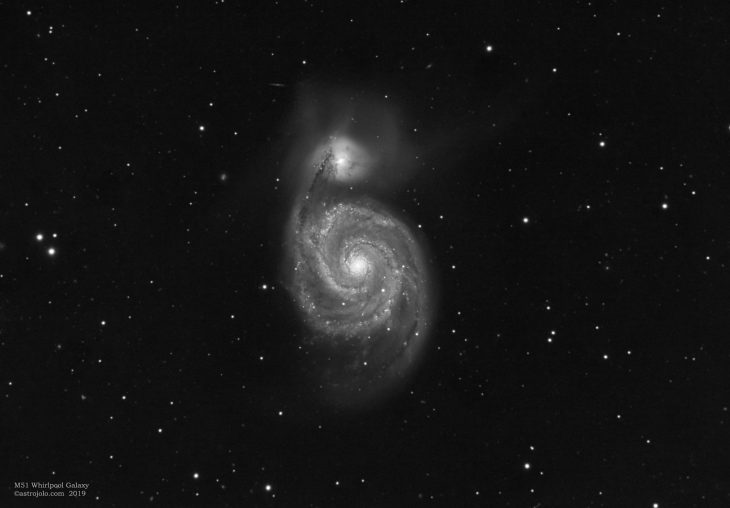 M51 Whirlpool Galaxy luminance channel only
