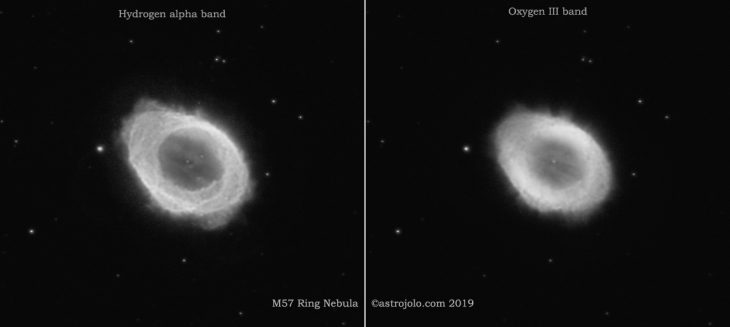 M57 Ring nebula images in narrowband