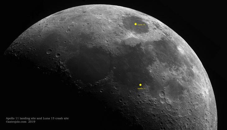 Apollo 11 site and Luna 15 crash site