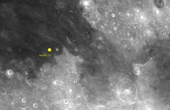 Apollo 11 landing site and Luna 15 crash site