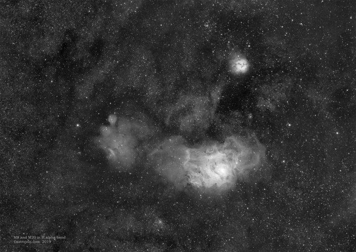M8 and M20 nebulae close up