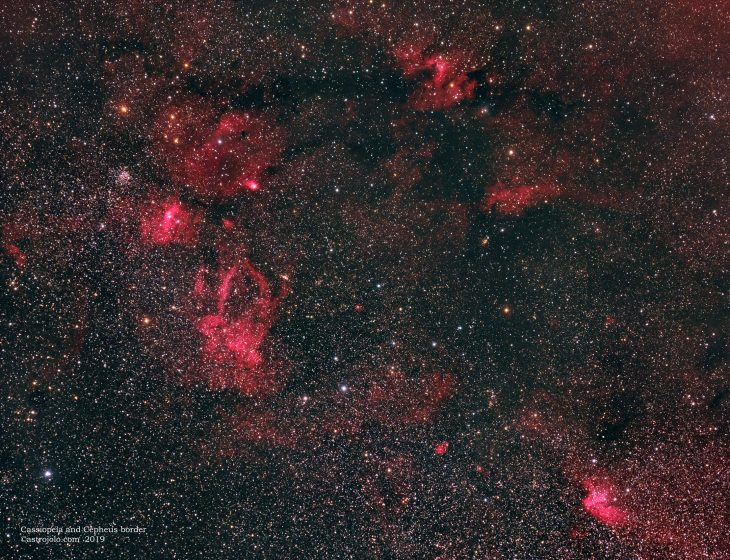 Cepheus and Cassiopeia border imaged with Samyang 135 lens