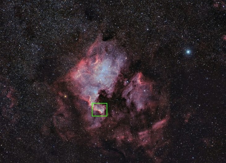 Cygnus Wall location in wide field image of NGC7000