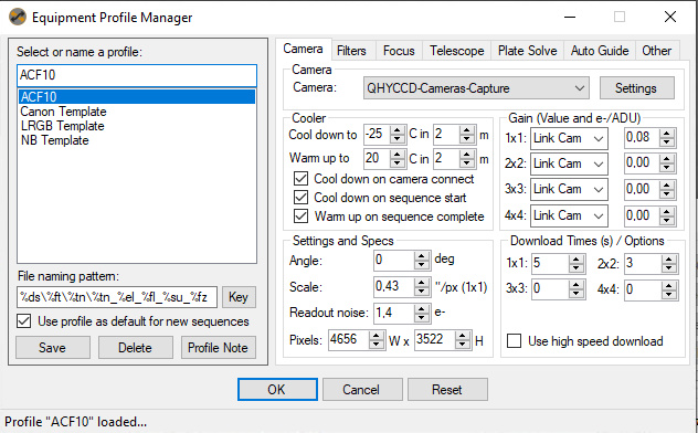 Sequence Generator Pro profile manager