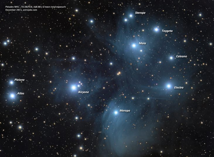 Pleiades - annotated image