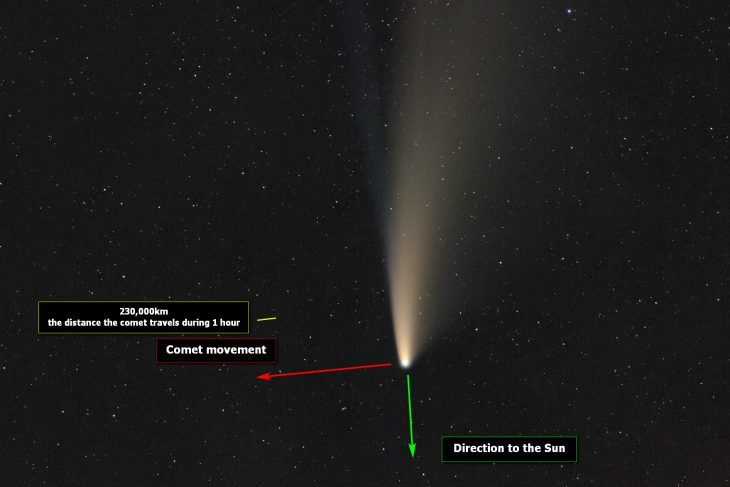 C/2020 F3 NEOWISE annotated
